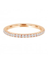 Pave Diamond Half Eternity Comfort Fit Wedding Band Ring 0.25 CTW 14k Rose Gold