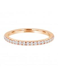 1/4ct Pave Diamond 14k Rose Gold Comfort Fit Wedding Band Anniversary Ring