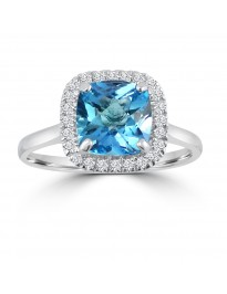 2.55ct Cushion Blue Topaz & Pave Diamond 14k White Gold Halo Solitaire Ring