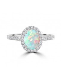 1.00ct Diamond & Oval Opal 14k White Gold Halo Solitaire Engagement Ring
