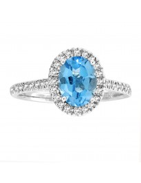 1.70ct Oval Blue Topaz & Round Diamond 14k White Gold Halo Solitaire Ring