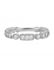 1/2ct Round Diamond 14k White Gold Stackable Milgrain Wedding Band Ring