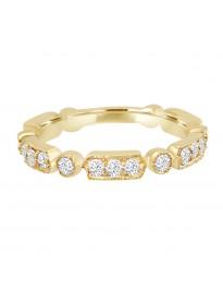 1/2ct Round Diamond 14k Yellow Gold Stackable Milgrain Wedding Band Ring