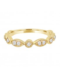 1/4ct Diamond 14k Yellow Gold Marquise & Dot Stackable Milgrain Band Ring
