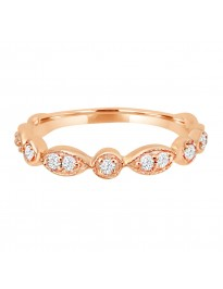 1/4ct Diamond 14k Rose Gold Marquise & Dot Stackable Milgrain Band Ring