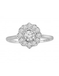 1/2ct Round Cut Diamond 14k White Gold Flower Engagement Ring