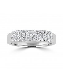 1/2ct 3 Rows Diamond 14k White Gold Wedding Anniversary Band Ring
