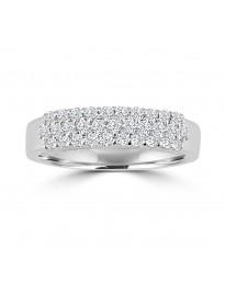 1/2ct 3 Rows Diamond 14k White Gold Wedding Anniversary Band Ring