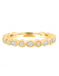 1/2ct Diamond 14k Yellow Gold Art Deco Marquise and Dot Wedding Band Ring