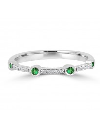 Bezel Set Pave Round Emerald & Diamond 10k White Gold Wedding Band Ring