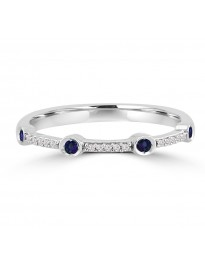 Bezel Set Pave Round Sapphire & Diamond 10k White Gold Wedding Band Ring