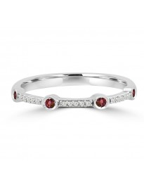 Bezel Set Pave Round Ruby & Diamond 10k White Gold Wedding Stackable Band Ring