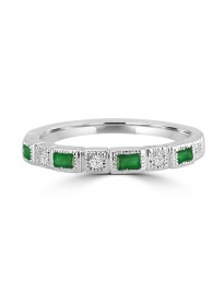 1/3cttw Baguette Emerald & Round Diamond 10k Gold Milgrain Wedding Band Ring