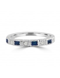 1/3cttw Baguette Sapphire & Round Diamond 10k Gold Milgrain Wedding Band Ring
