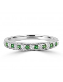 1/4ct Channel Set Diamond & Emerald 10k Gold Milgrain Wedding Anniversary Band Ring