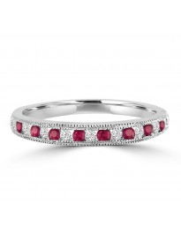 1/4ct Channel Set Diamond & Ruby 10k Gold Milgrain Wedding Anniversary Band Ring