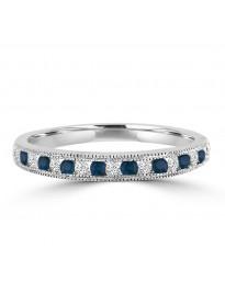 1/4ct Channel Set Diamond & Sapphire 10k Gold Milgrain Wedding Anniversary Band Ring
