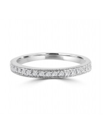 1/10ct Diamond 10k White Gold Wedding Anniversary Milgrain Band Ring
