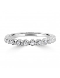 Bezel Set Diamond Half Eternity 10k White Gold Milgrain Stackable Wedding Band Ring