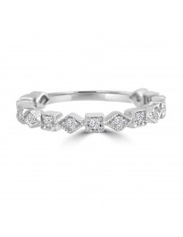 1/4ct Diamond 14k White Gold Alternating Square & Diamond Milgrain Wedding Band Ring