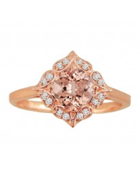 1.00ct Diamond & Morganite 14k Rose Gold Floral Engagement Ring
