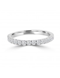 1/2ct Pave Diamond 14k White Gold Wedding Anniversary Half Eternity Band Ring