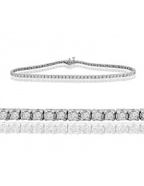 1.00ct Round Brilliant Diamond 14k White Gold Ladies Tennis Bracelet 7 Inch