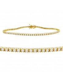 2.25ct Natural Round Brilliant Diamond 14k Yellow Gold Ladies Tennis Bracelet 7""