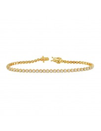 2.00ct Natural Round Diamond 14k Yellow Gold Ladies Tennis Bracelet