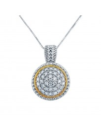0.50ct Pave Round Diamond 14k Two Tone Gold Milgrain Domed Pendant Necklace