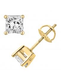 1/2ct Princess Cut Diamond 14k Yellow Gold Stud Earrings Screw Back