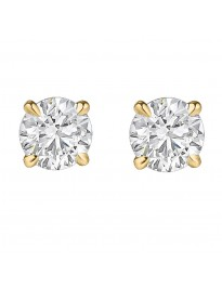 0.40ct Solitaire Round Brilliant Diamond 14k Yellow Gold Stud Earrings