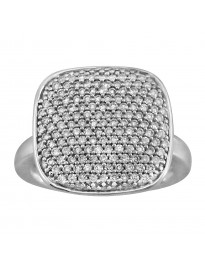 0.75ct Pave Round Diamond 14k White Gold Square Cocktail Ring