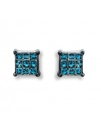1/5ct Blue Princess Cut Diamond 10k White Gold Invisible set Stud Earrings