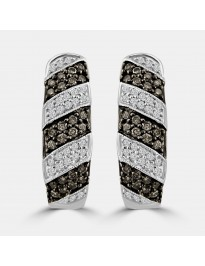 1.00ct Grey & White Diamond 14k White Gold Huggie Milgrain Stripe Earrings