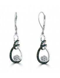 1/3ct Blue & White Diamond 10k Gold Cluster Flower Dangle Leverback Earrings