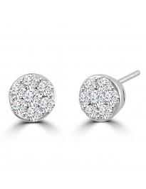 1.00ct Round Diamond 14k White Gold 7 Stone Cluster Flower Stud Earrings