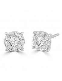 1/2ct Round Diamond 14k White Gold 0.50ct Pave Halo Stud Earrings