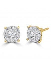 1/2ct Round Diamond 14k Yellow Gold 0.50ct Pave Halo Stud Earrings