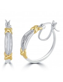 0.18ct Channel Set Baguette Diamond 10k TT Gold Hoop Earrings