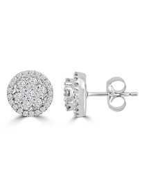 1/2ct Round Diamond 10k White Gold 7 Stone Halo Cluster Flower Stud Earrings