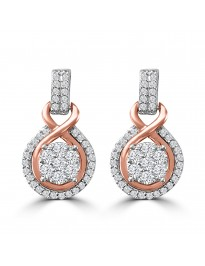1/2ct Round Diamond 10k Two Tone Gold Cluster Flower Drop Earrings
