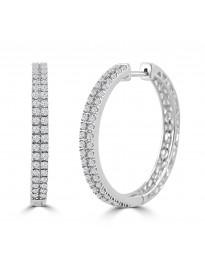 1.00ct 2 Row Round Diamond 14k White Gold Hoop Earrings
