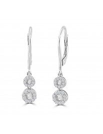 1/2ct Round & Baguette Diamond 10k Gold Halo Leverback Dangle Earrings
