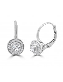 1/2ct Round Diamond 14k White Gold Halo Leverback Dangle Earrings