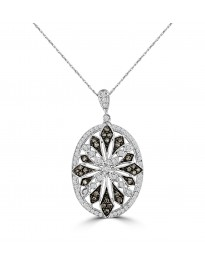 0.63ct Grey & White Diamond 14k White Gold Oval Milgrain Pendant Necklace