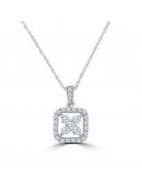 1/2ct Round Diamond 14k White Gold Square Flower Pendant Necklace IGI Certified