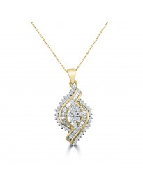 3/4ct Round & Baguette Diamond 10k Yellow Gold Cluster Pendant Necklace