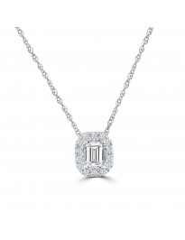 1/3ct Emerald Cut & Round Diamond 14k White Gold Halo Pendant Necklace