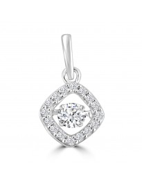 1/4ct Round Dancing Diamond 14k White Gold Square Pendant